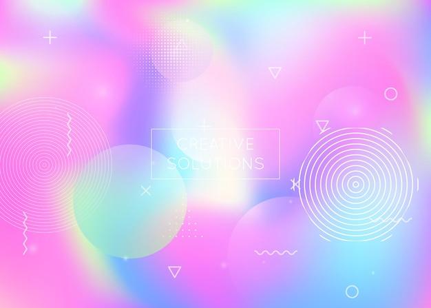 Фон динамической формы с жидкой жидкостью. голографический градиент в стиле баухаус с элементами мемфиса. графический шаблон для книги, годового, мобильного интерфейса, веб-приложения. спектр динамической формы фона.