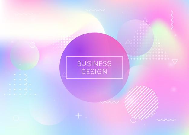 液体流体と動的形状の背景。メンフィス要素を含むホログラフィックバウハウス勾配。パンフレット、バナー、壁紙、モバイル画面のグラフィックテンプレート。虹のダイナミックな形の背景。