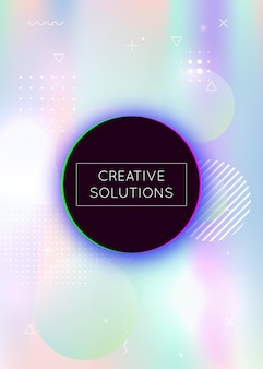 Dynamic shape background with liquid fluid. holographic bauhaus gradient with memphis elements. graphic template for placard, presentation, banner, brochure. pearlescent dynamic shape background.