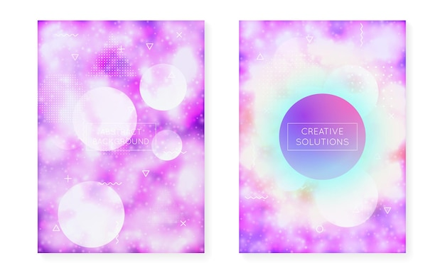 Dynamic shape background with liquid fluid. neon bauhaus gradient with purple luminous cover. graphic template for flyer, ui, magazine, poster, banner and app. retro dynamic shape background.