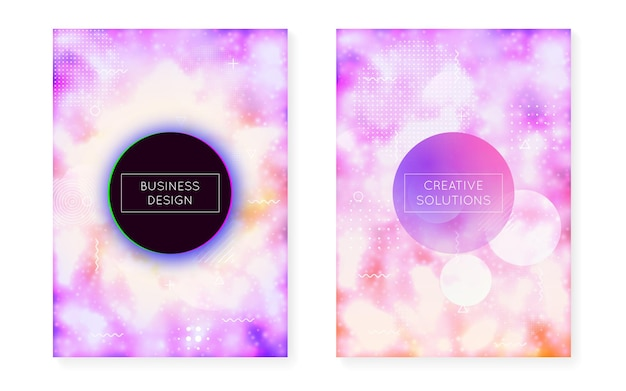 Dynamic shape background with liquid fluid. neon bauhaus gradient with purple luminous cover. graphic template for placard, presentation, banner, brochure. dazzling dynamic shape background.