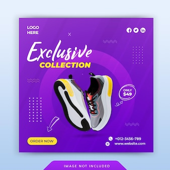 Dynamic sports shoes social media banner and instagram post template design premium vector