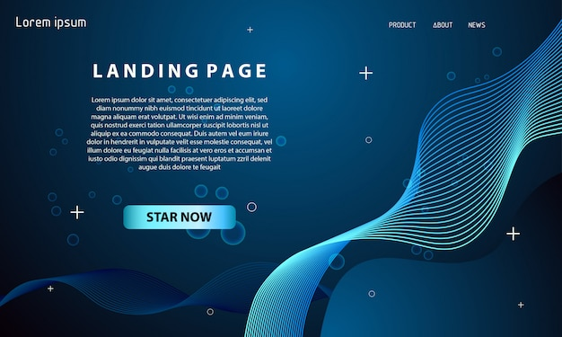Dynamic wave landing page template
