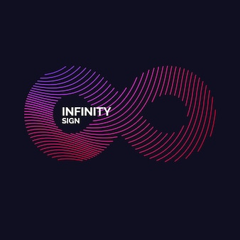 Dynamic waves form a sign of infinity. vector illustration.
