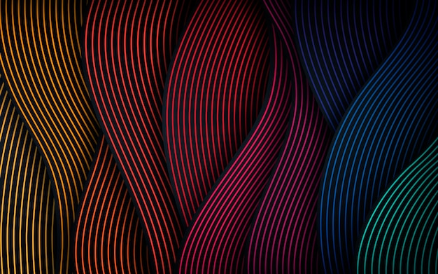 Dynamic wavy line colorful background