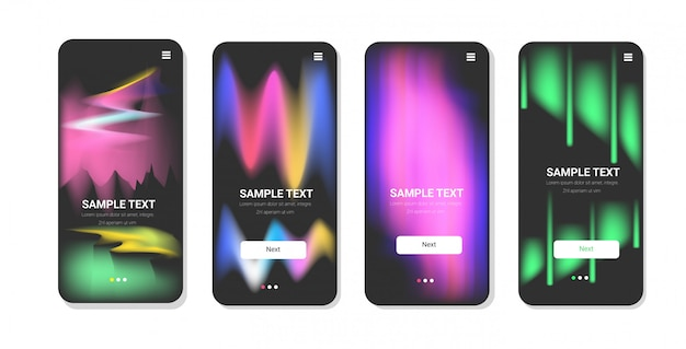 Dynamical colored forms abstract background gradient banners fluid color templates modern  elements smartphone screens set online mobile app