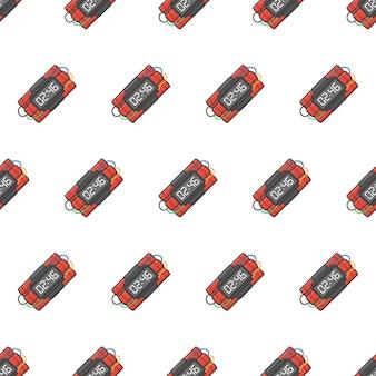 다이너마이트 폭탄 원활한 패턴. 폭발성 다이너마이트, 수류탄 및 폭탄 테마 일러스트레이션