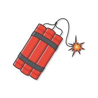 Dynamite bomb with burning wick detonate  illustration. explosive dynamite, grenade, and bomb