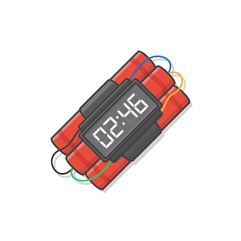 Dynamite bomb with timer is ready to explode  icon illustration. explosive dynamite, grenade, and bomb icon