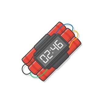 Динамитная бомба с таймером готова взорваться значок иллюстрации. взрывной динамит, граната и значок бомбы