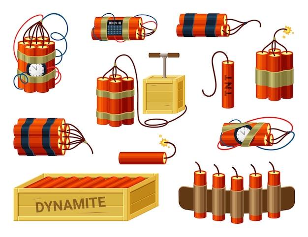Динамит. коробка со взрывчаткой, патронташей, миниатюрными взрывателями, красными палками и бомбой-таймером.