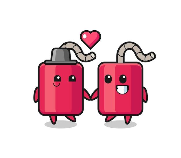 사랑 제스처에 빠진 다이너마이트 만화 캐릭터 커플, 티셔츠, 스티커, 로고 요소를 위한 귀여운 스타일 디자인
