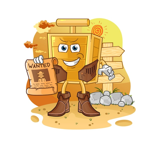 The dynamite detonator cowboy with wanted paper. cartoon mascot