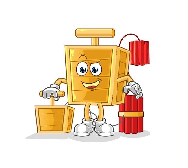 The dynamite detonator holding dynamite detonator. cartoon mascot