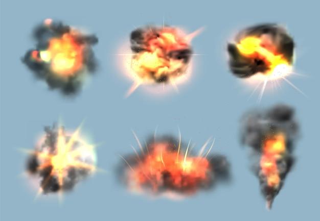 다이너마이트 폭발 효과. 화재 및 연기 구름 벡터 컬렉션으로 현실적인 폭탄 폭발. 다이너마이트 쾅, 에너지 폭발 일러스트 애니메이션