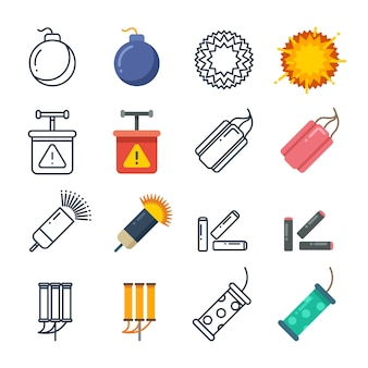 Dynamite, fireworks, pyrotechnic icons