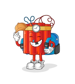 Dynamite goes to school vector. cartoon character