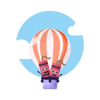 ダイナマイト熱気球かわいいキャラクターマスコット