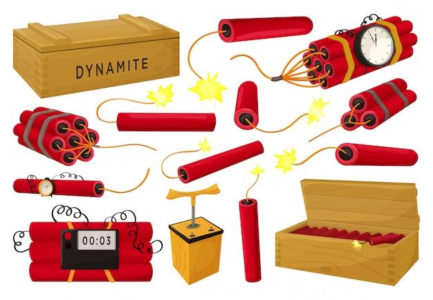 Иллюстрация динамита на белой предпосылке. мультфильм установить значок взрыватель. изолированный мультфильм набор значок динамит.