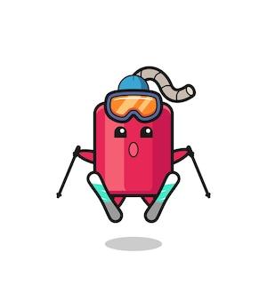 Персонаж-талисман динамита как лыжник, милый стиль дизайна для футболки, наклейки, элемента логотипа