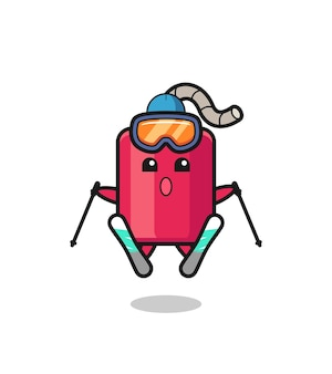 Dynamite mascot character as a ski player , cute style design for t shirt, sticker, logo element