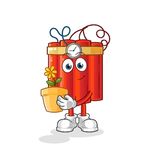 Dynamite with a flower pot. character vector