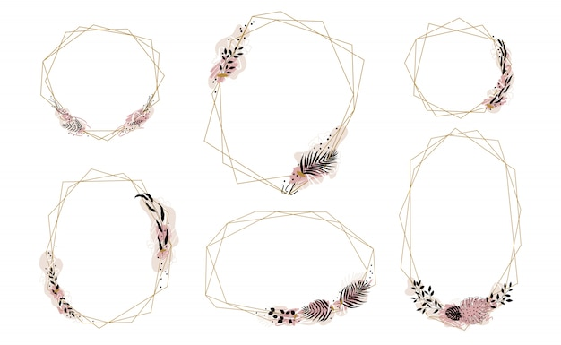 Набор с золотыми кристаллами обрамляет оправы, украшенные пятнами краски и листьями пальмы dypsis, monstera, оливкового и других.