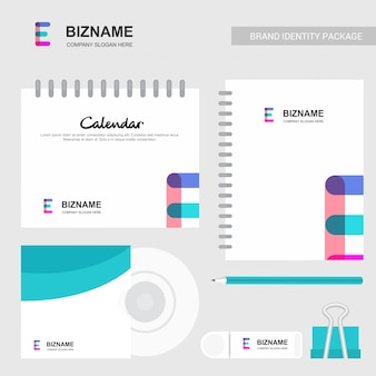 E abstract logo and notebook calendar template