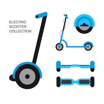 플랫 스타일의 전자 자전거와 스쿠터 컬렉션. 전기 개인 교통의 집합입니다. 삽화.