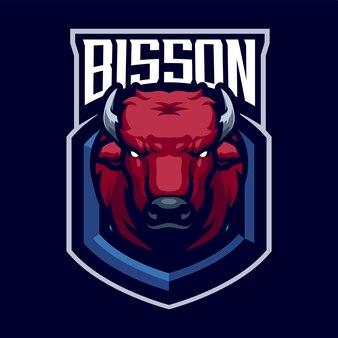 スポーツと分離されたeスポーツのbissonヘッドマスコットロゴ