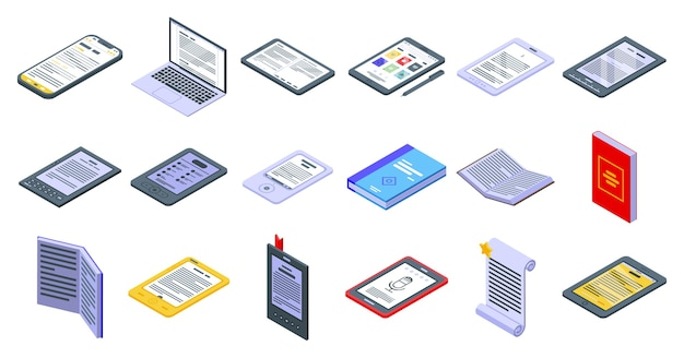 E-book application icons set. isometric set of e-book application  icons for web  isolated on white background