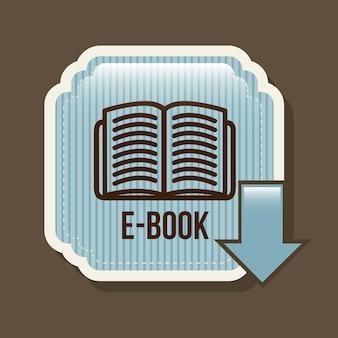 E book button over brown background vector illustration