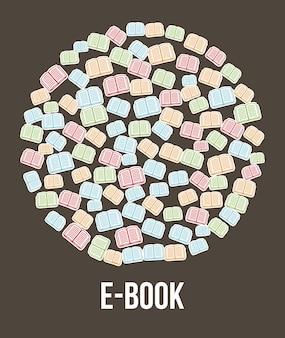E book button brown background vector illustration