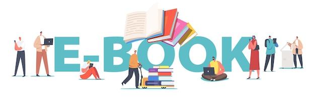 전자책 개념. 독서하는 남성과 여성 캐릭터는 가제트, 전자 도서관, 전자 학습 및 온라인 교육 포스터, 데이터 디지털화 배너 또는 전단지를 사용합니다. 만화 사람들 벡터 일러스트 레이 션