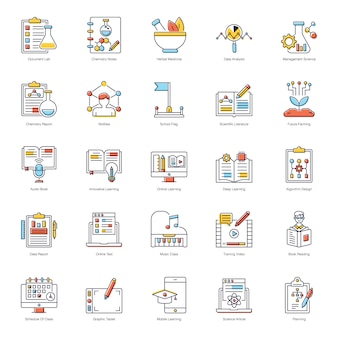 E book flat icons pack