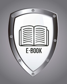 E book icon over gray background vector illustration