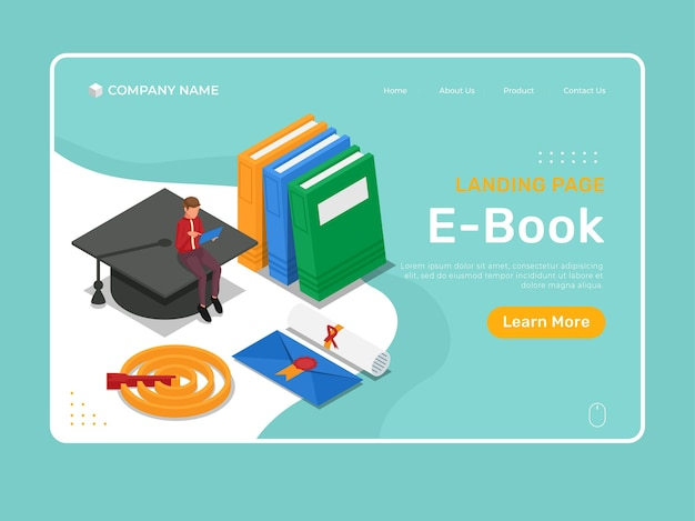 E-book landing page illustration with isometric character learning at computer tablet.