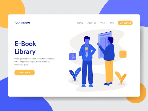 E-book library illustration for web pages