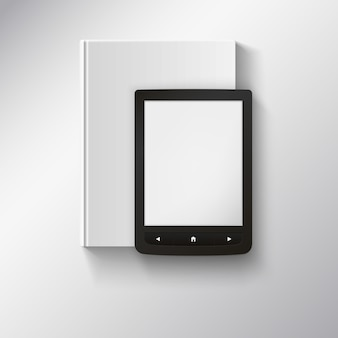 E-book lying on top of book.