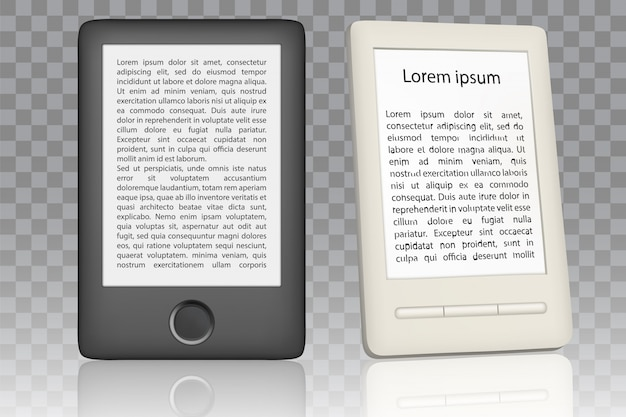 E-book reader realistic set