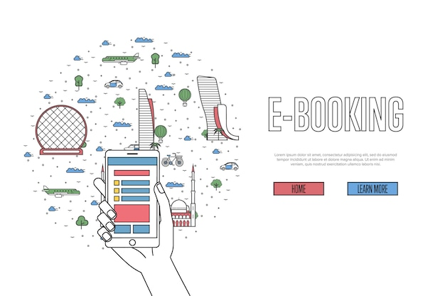 E-booking template in linear style
