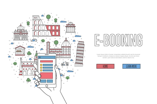 E-booking webpage in linear style