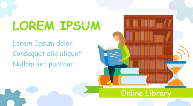 E-books management system banner vector template