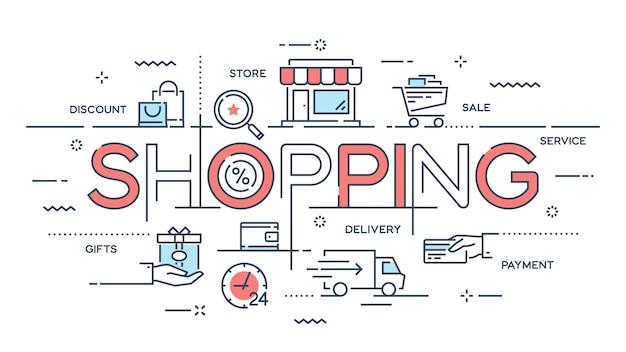 ショッピング、eコマース、小売、販売、配送サービスの細い線c
