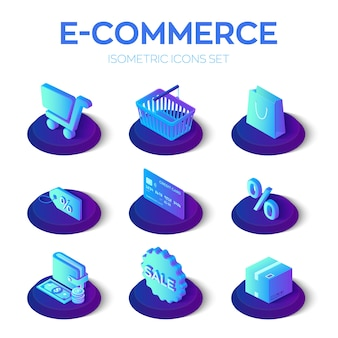 E-commerce 3d isometric icons set.
