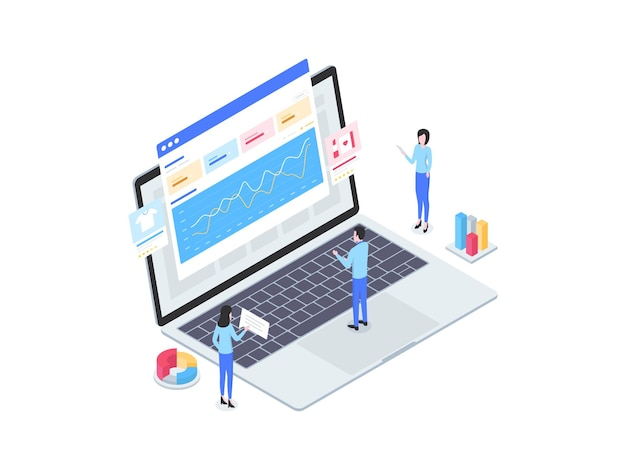 E-commerce analytics isometric illustration. suitable for mobile app, website, banner, diagrams, infographics, and other graphic assets.