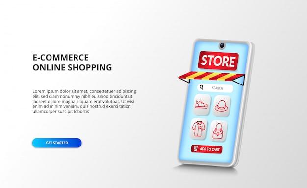 빨간색 윤곽선 패션 아이콘이있는 3d 스마트 폰 관점의 전자 상거래 및 온라인 쇼핑 앱