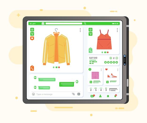 Приложение для электронной коммерции онлайн-магазин одежды на планшете, отображение всей информации о продукте