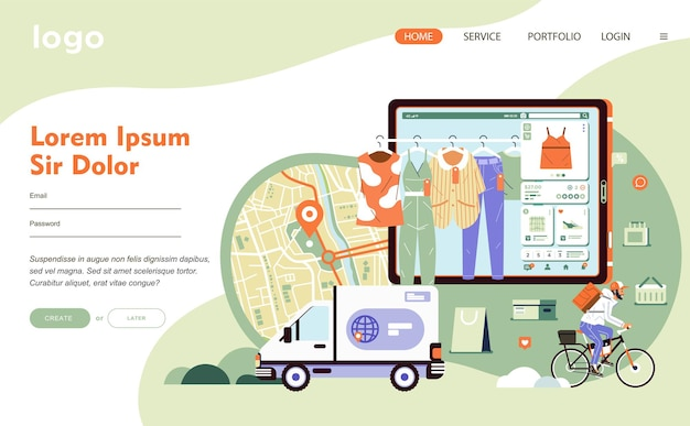 E commerce application technology for online shopping and conected to delivery service. there is map, truck, tab, clothes and man riding bycicle flat  illustration