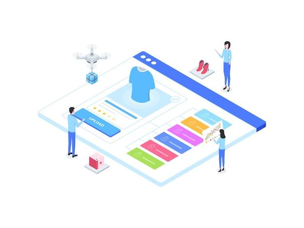 Eコマースカタログアップロードアイソメ図。モバイルアプリ、ウェブサイト、バナー、図、インフォグラフィック、その他のグラフィックアセットに適しています。